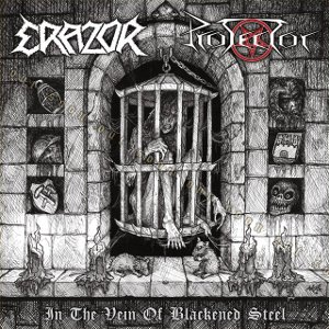ERAZOR/ PROTECTOR - In the Vein of Blackened Steel split Blue/White 7