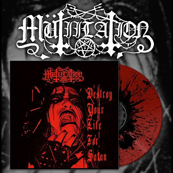 MÜTIILATION - Destroy Your Life For Satan Red & Black Splatter 10