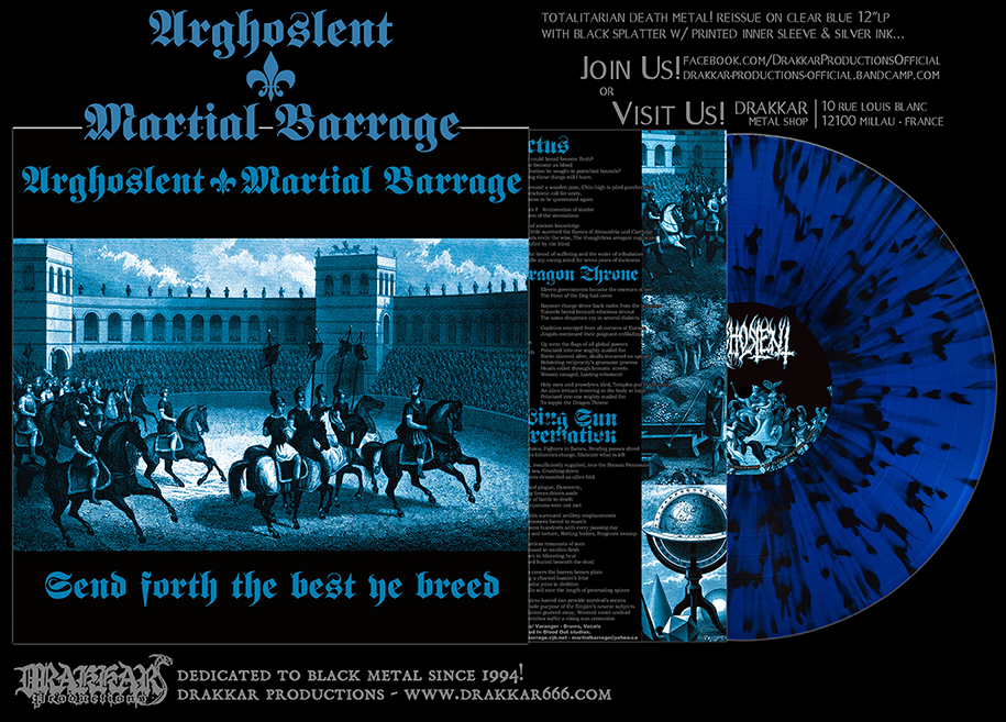 ARGHOSLENT/ MARTIAL BARRAGE - Send Forth the Best Ye Breed CLEAR BLUE/ BLACK SPLATTER 12